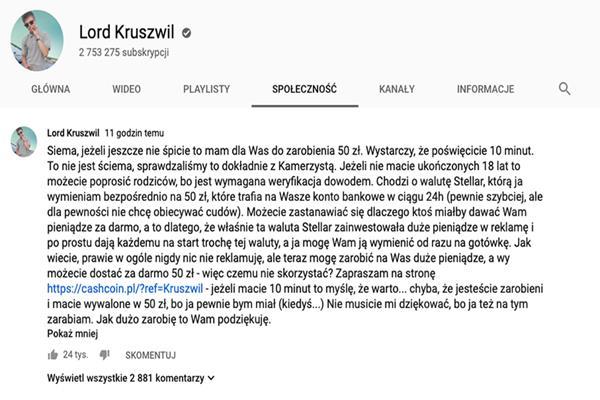 Kruszwil i Kamerzysta promują scam – dają 50 zł za skan dowodu osobistego – zobacz na czym polega przekręt